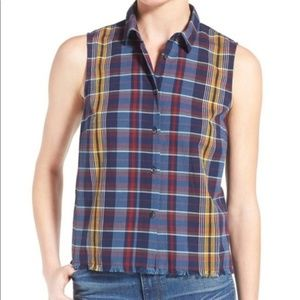 Madewell Moments Plaid Button Front Tank Top Small